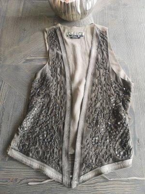 Closed Top in seta grigio chiaro-antracite