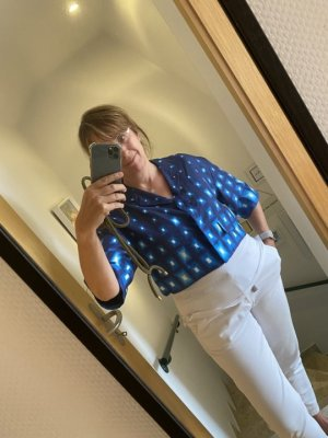 Prada Blazer corto blu-bianco Seta