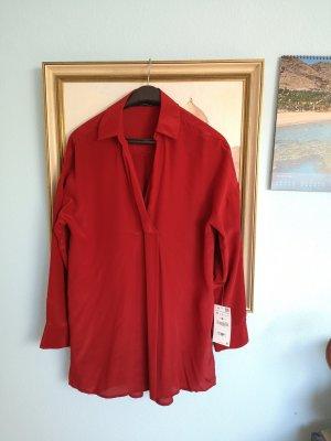Zara Zijden blouse veelkleurig Zijde