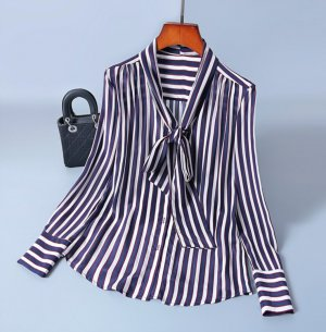 100% Fashion Blusa de seda blanco-azul oscuro