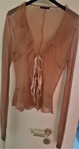 Sisley Jedwabna bluzka beżowy-camel Jedwab