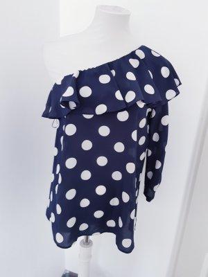 Marella Zijden blouse wit-donkerblauw