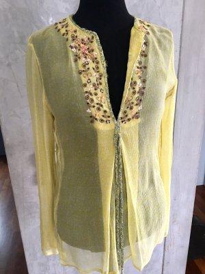 Antik Batik Blusa in seta giallo pallido