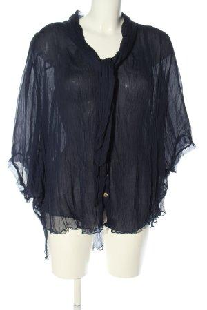 Zijden blouse blauw zakelijke stijl