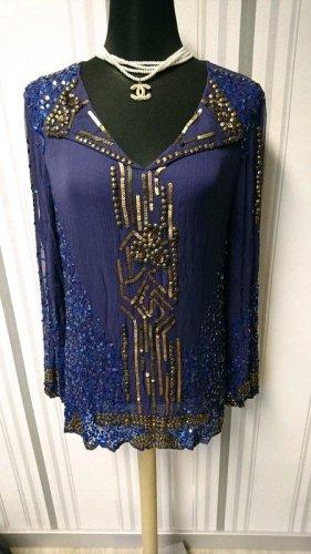 Seidenbluse / Bluse Größe 36 in blau mit Pailletten