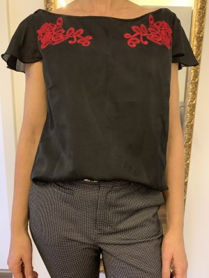 Boss Orange Short Sleeved Blouse black-dark red silk