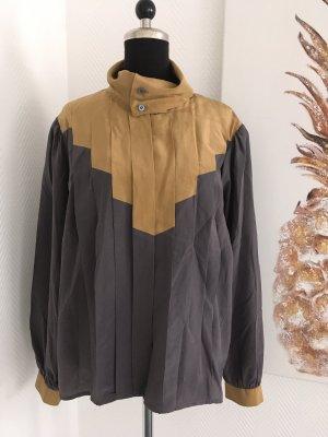 Jedwabna bluzka antracyt-piaskowy brąz