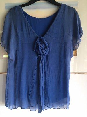 Blouse en soie bleu acier