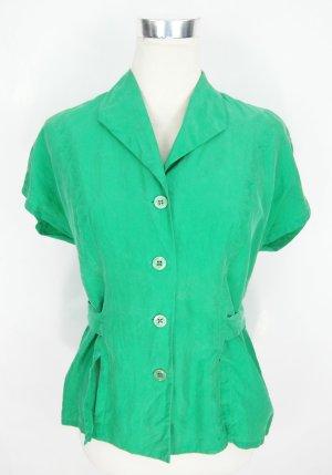 Seidenbluse Gr. S grüne Bluse Kurzarmbluse Vintage