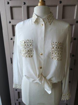 Jobis Blusa in seta bianco-oro