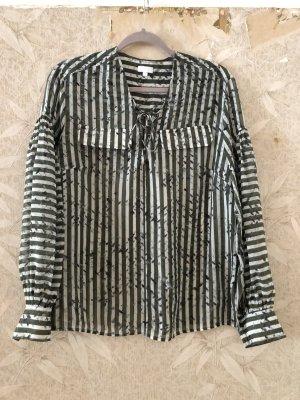 Lala Berlin Jedwabna bluzka w kolorze białej wełny-khaki