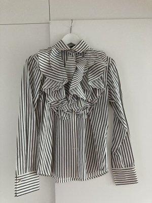 Lauren by Ralph Lauren Jedwabna bluzka biały-antracyt Jedwab