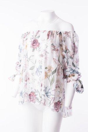 Seidenbluse mit floralem Print Weiß One Size NEU