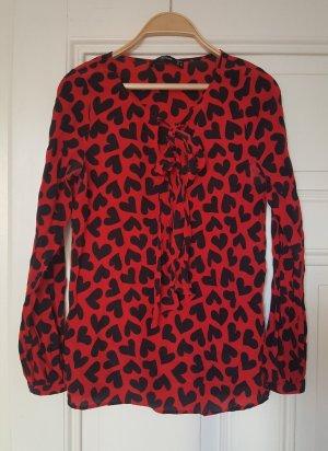 Hallhuber Silk Blouse black-red