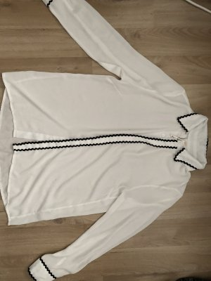 Elli White Silk Blouse white-black
