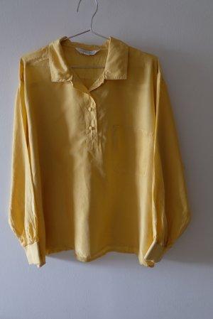 Laura Torelli Silk Blouse yellow silk