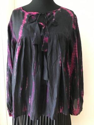 Seidenbluse von Anna Kosturova (ungetragen) schwarz/pink, Gr. S (38)