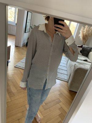 by Malene Birger Zijden blouse wit-donkerblauw