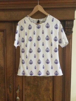 SEREN London Jedwabna bluzka biały-niebieski Jedwab