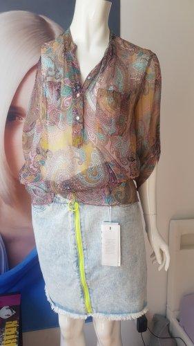 seidenbluse wie etro jeansrock neu mit Etikette small