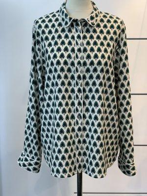Zimt & Zucker Blusa in seta crema-verde scuro