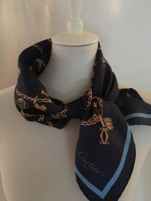 Cartier Foulard en soie bleu foncé-doré