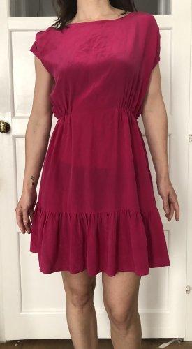 Sandro Flounce Dress raspberry-red-pink