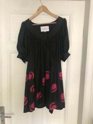 Designers Remix Charlotte Eskildsen vestido de globo negro-rojo oscuro Seda