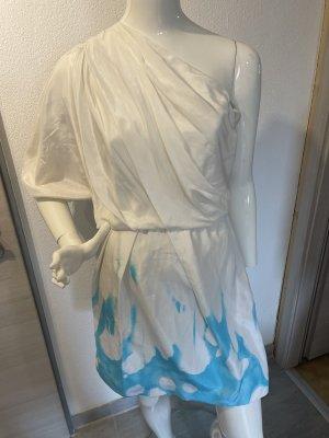 Diane von Fürstenberg Sukienka na jedno ramię biały-turkusowy