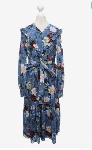 Erdem Midi Dress cornflower blue-white silk