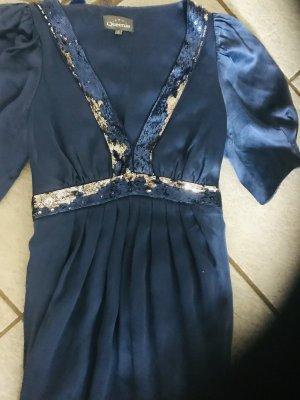 Robe de bal bleu foncé soie