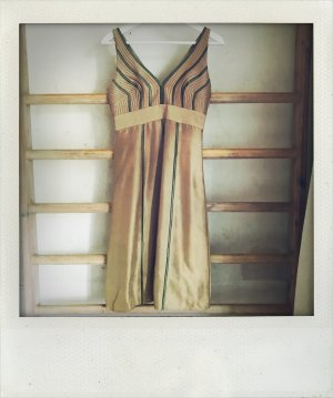 Seidenkleid Kleid Seide 34 gold beige