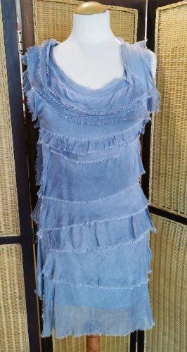 Made in Italy Vestido estilo flounce gris pizarra-azul pálido Seda