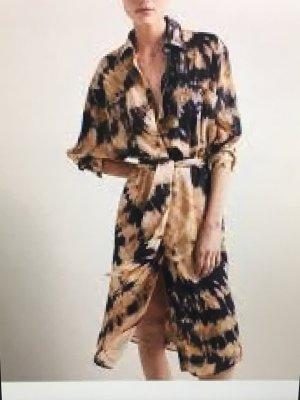 Massimo Dutti Vestido camisero multicolor tejido mezclado