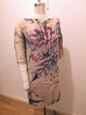 Seidenkleid mit Blumenprint Aquarell Zara Woman Gr. S