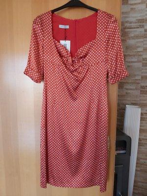 René Lezard Pencil Dress natural white-brick red silk