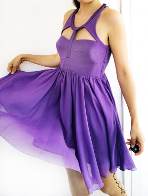 Versace for H&M Chiffon Dress dark violet