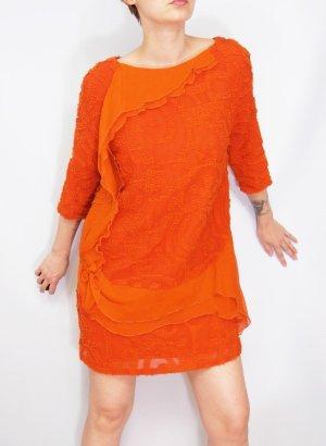 Seidenkleid Volantkleid Gr. 36 oranges Kleid Seide