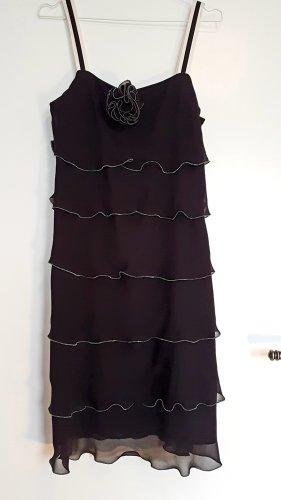 1.2.3 Paris Vestido de chifón negro-blanco puro Seda
