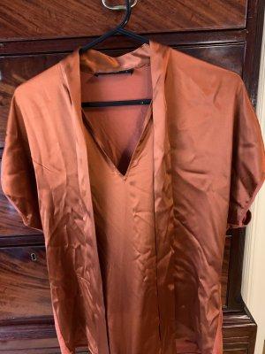 Hallhuber Silk Blouse bronze-colored-russet