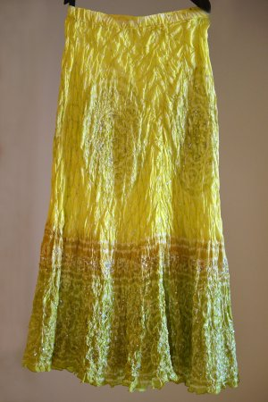 Jupe longue multicolore soie