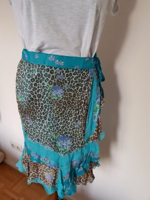 Blumarine Silk Skirt camel-turquoise
