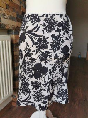 Lands' End Silk Skirt white-black
