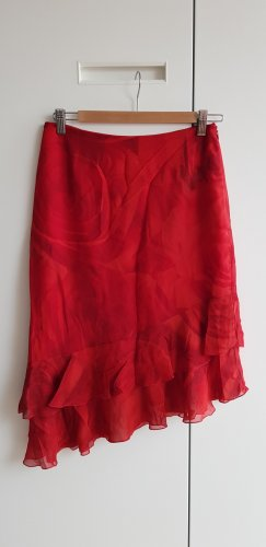 Escada Flounce Skirt brick red silk