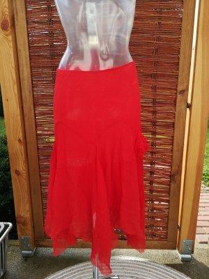 Falda de seda rojo claro-rojo