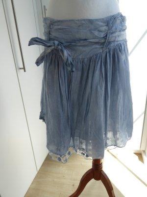 Silk Skirt azure-cornflower blue silk