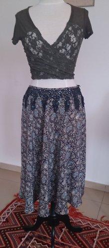 Falda circular multicolor Seda