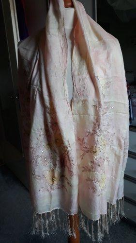 Seidenschal, Apricot/Rose mit Glitzerblumen