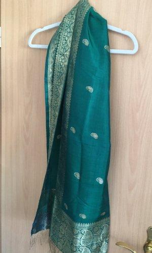 Bufanda de seda verde bosque-color oro