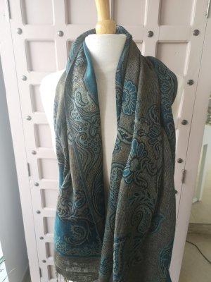 Zijden sjaal beige-turkoois